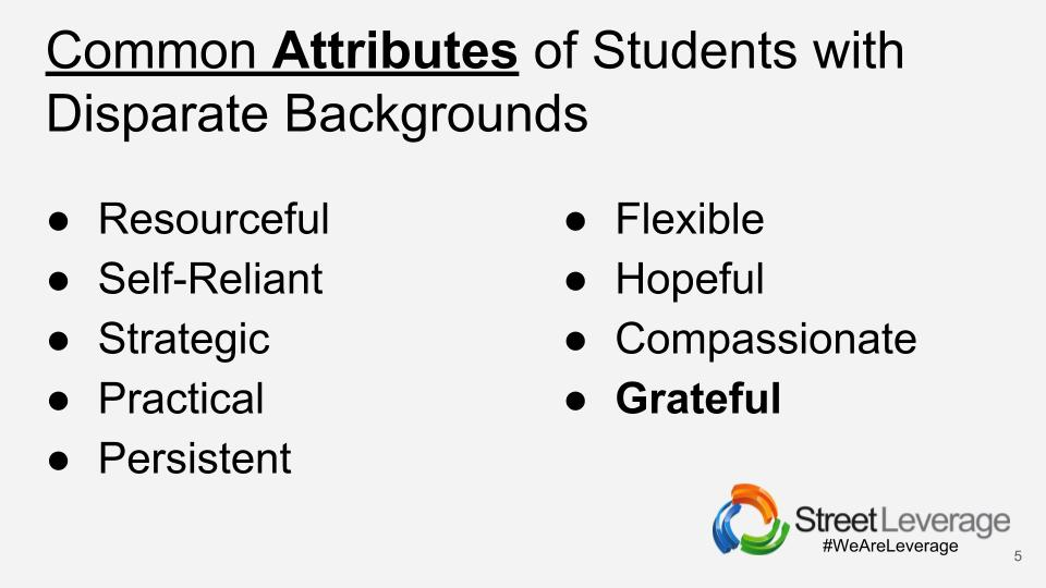 StreetLeverage - Live Common Attributes of Students with Disparate Backgrounds